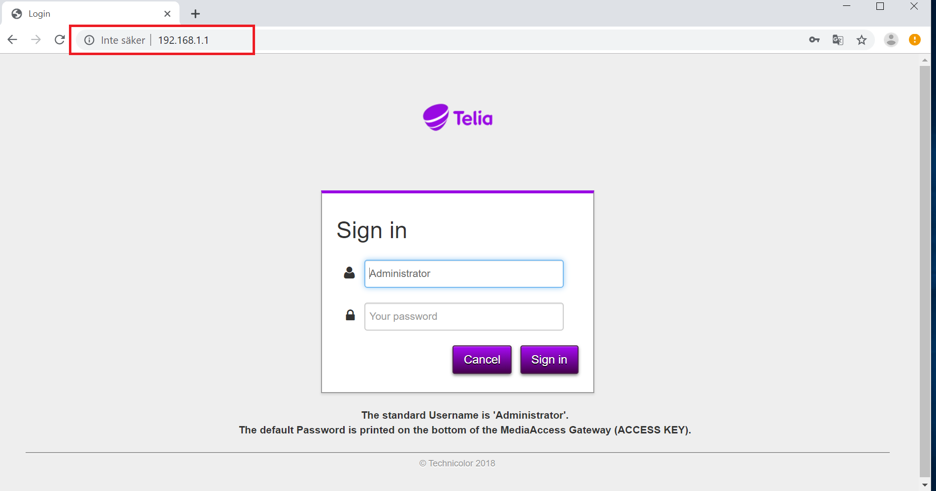 telia gateway wifi lösenord